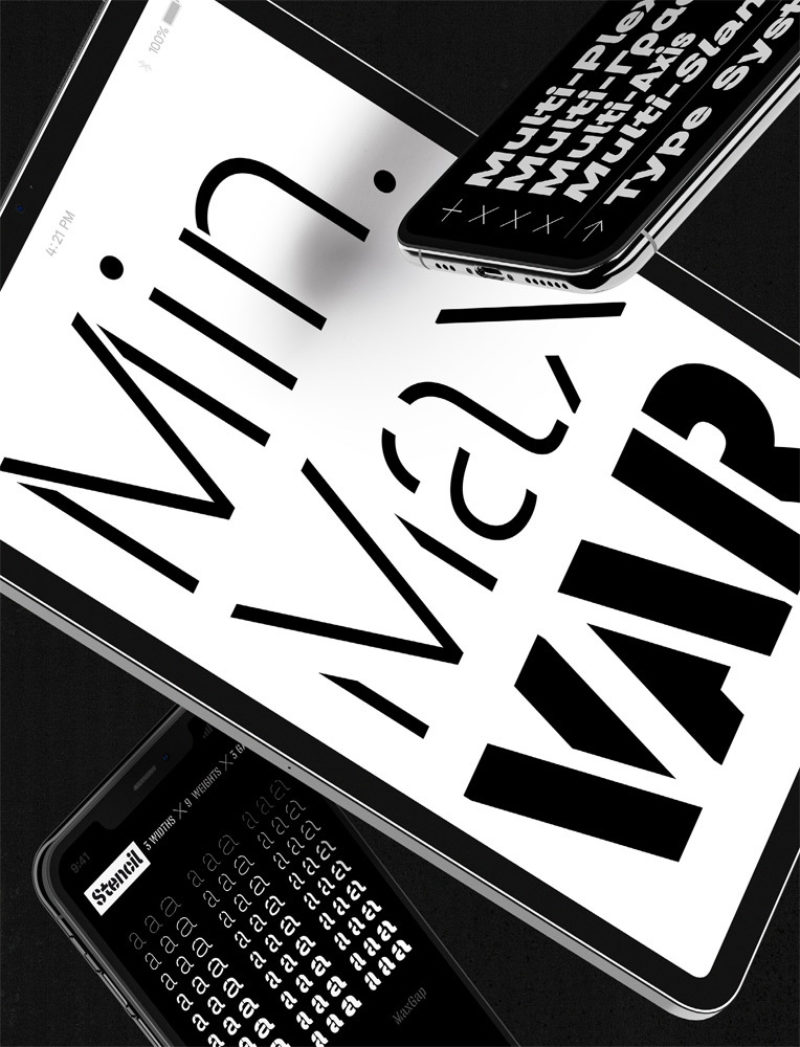 Type Mates Simulated Fonts In Use Typeface 06 Mobile Devices Halvar Stencil Mittelschrift