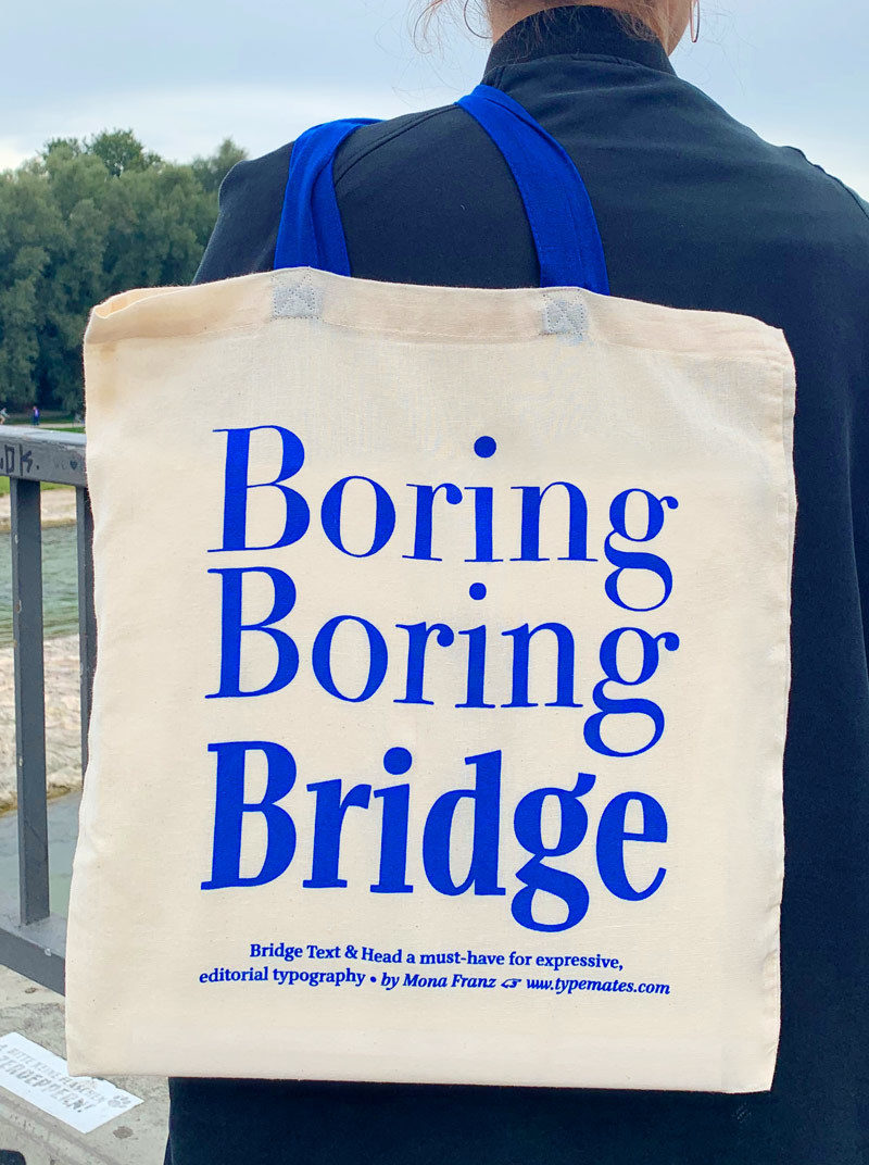 Type Mates Fonts In Use Simulated 01 Tote Bag Bridge Head By Mona Franz